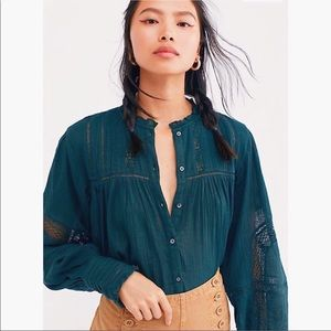 FREE PEOPLE Emma Button Down Shirt in Green